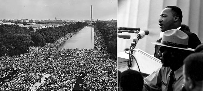 """워싱턴 행진에 참여한 30만명의 군중과 킹 목사. 킹 목사는 흑인과 백인이 화합하는 평화로운 행진, 그리고 """"나는 꿈이 있습니다(I have a dream)""""이라는 유명한 연설을 통해서, 미국에서 인권법이 통과되는 중요한 계기를 만들었다. -  Information Agency 제공"""